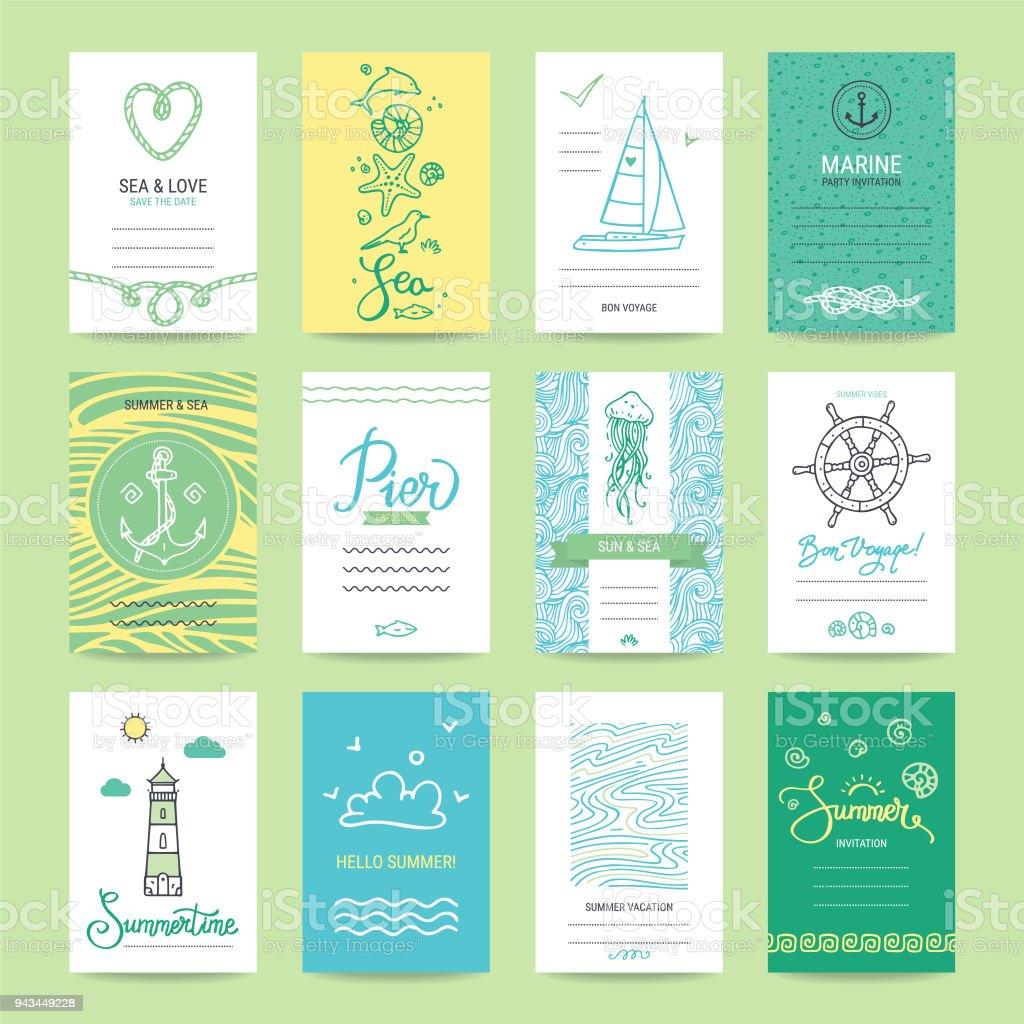 Hand Drawn Summer Card, Flyer, Banner Collection vector art illustration