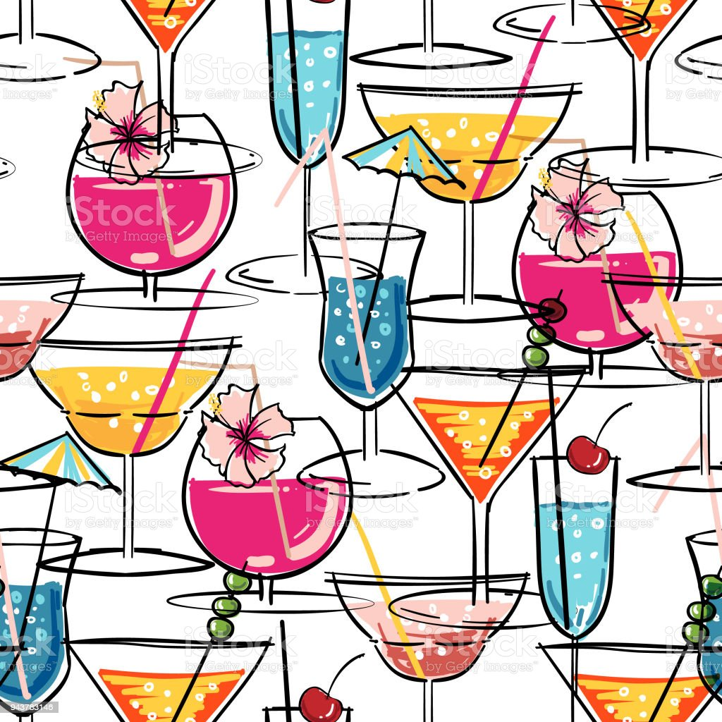 Hand drawn summer cocktail seamless pattern with hibiscus flowers hand drawn summer cocktail seamless pattern with hibiscus flowers vector illustration for fashion fabric and izmirmasajfo