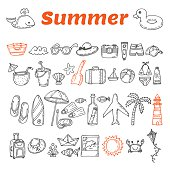 Hand drawn summer collection. Beach theme doodle set. Travel