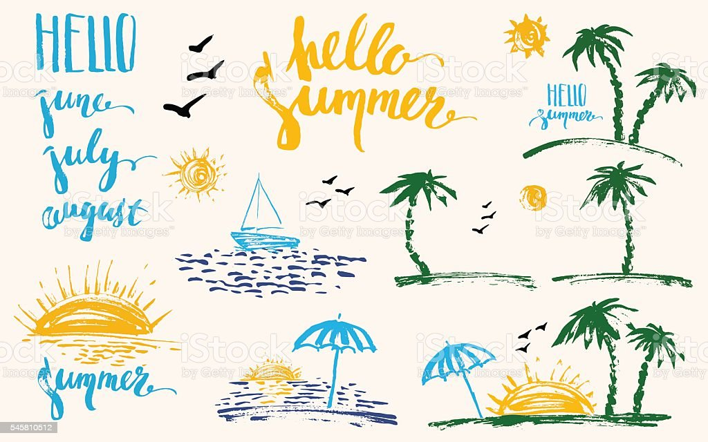Hand drawn summer design elements set with brush lettering, palm vector art illustration