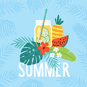 Hand drawn summer greeting card, invitation with lemonade drink in mason jar. Watermelon and pineapple fruit with tropical palm leaves and hibiscus flower, vector illustration, web banner.