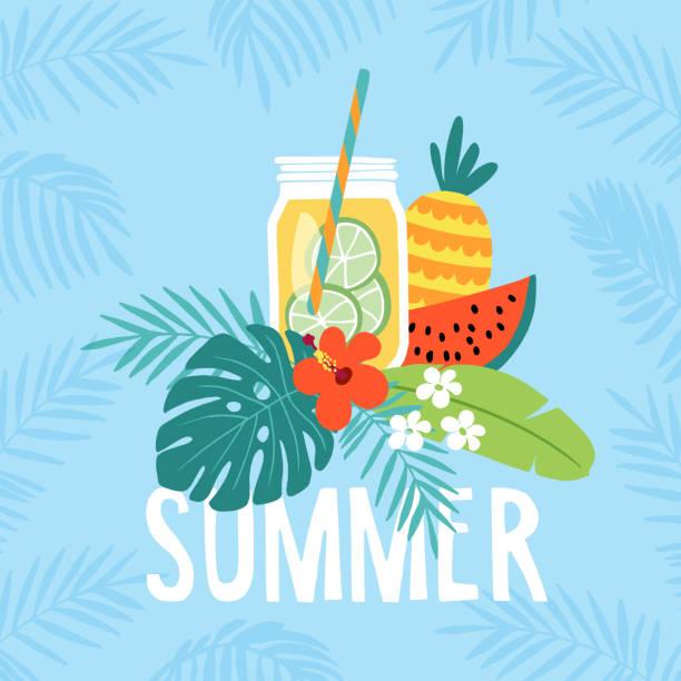 handgezeichnete sommer grußkarte, einladung mit limonade trinken im einmachglas. wassermelone und ananas frucht mit tropischen palmen und hibiskus-blume. vektor-illustration, web-banner - glasblumen stock-grafiken, -clipart, -cartoons und -symbole