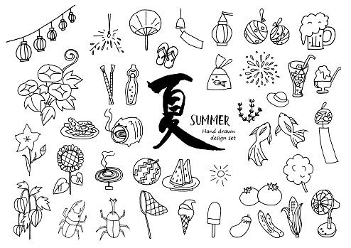 Hand drawn summer material set