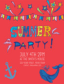 Hand Drawn Doodled Text and Design Elements. Party Invitation