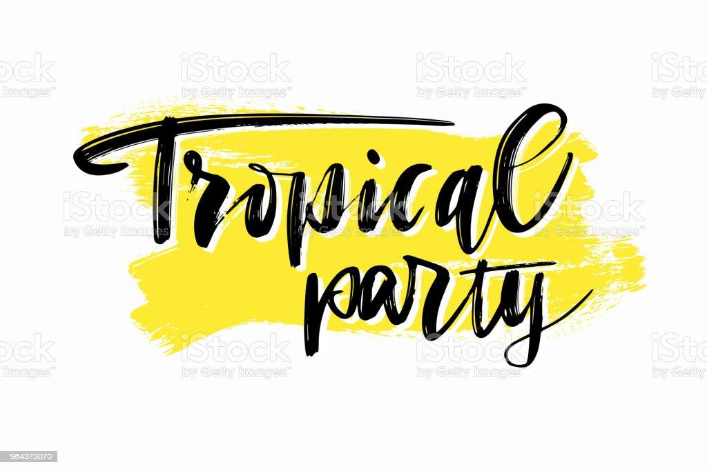 Hand getekend zomer partij belettering. Tropische vakantie en partij kalligrafie inscriptie. Vectorillustratie - Royalty-free Banner vectorkunst