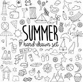Hand drawn line summer set on white background