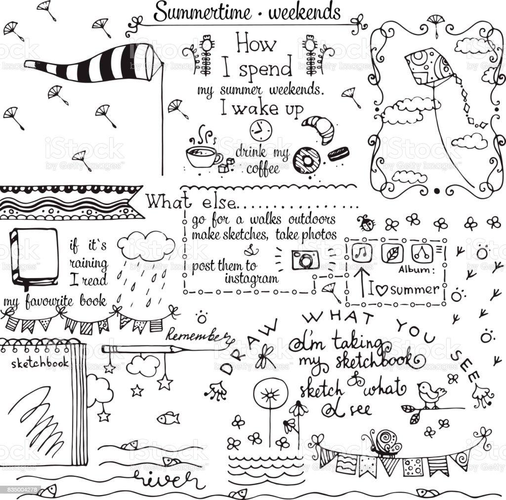 laticínios de verão desenhada mão doodles - ilustração de arte em vetor