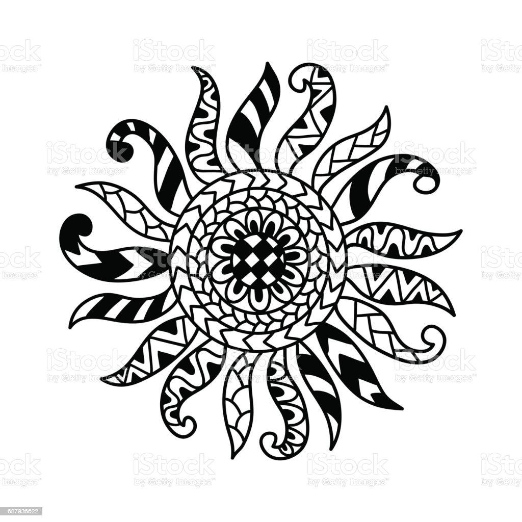 Anti Stres Boyama Sayfası Için çizilmiş Güneş Ver Stok Vektör Sanatı