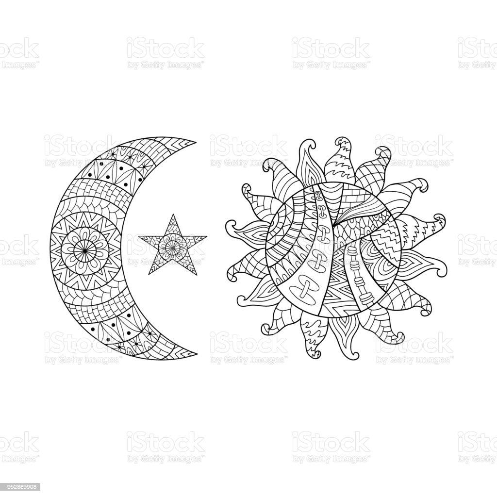 Cizilmis Sun New Moon Ve Anti Stres Boyama Sayfasi Icin Yildiz Ver