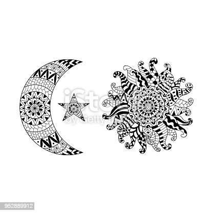 çizilmiş Sun New Moon Ve Anti Stres Boyama Sayfası Için Yıldız Ver