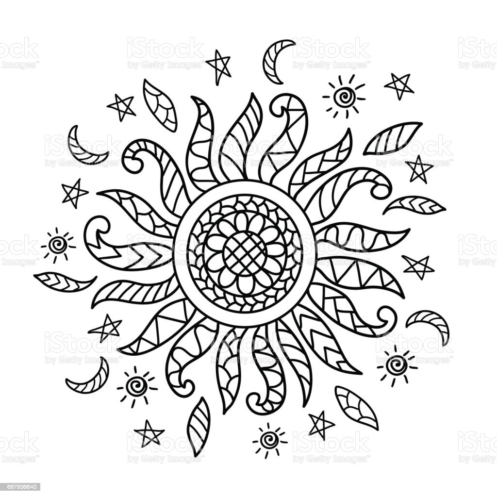 Anti Stres Boyama Sayfası Için Elle çizilmiş Güneş Siluet Stok