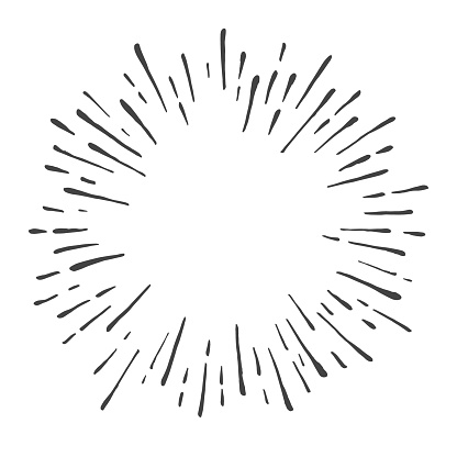Hand drawn sunburst explosion vector illustration isolated on white background. Retro vintage design sun rays or fireworks radial elements of shine hipster arts.