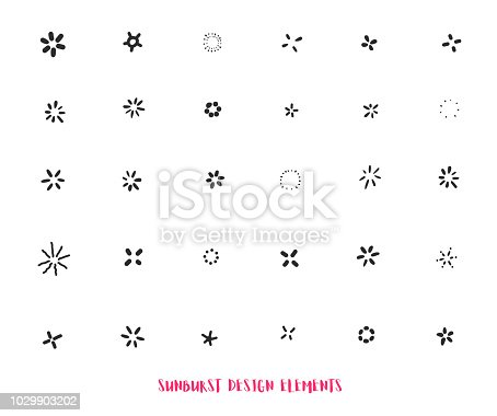 Hand drawn sunburst ray design elements isolated on white background. Modern starburst.