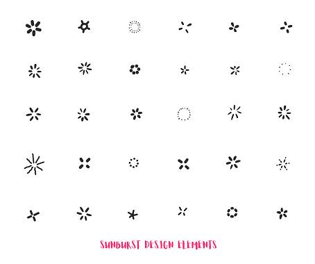 Hand drawn sunburst ray design elements isolated on white background. Modern starburst