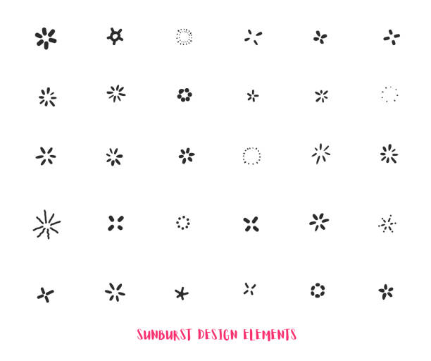 hand drawn sunburst ray design elements isolated on white background. modern starburst - spark stock illustrations