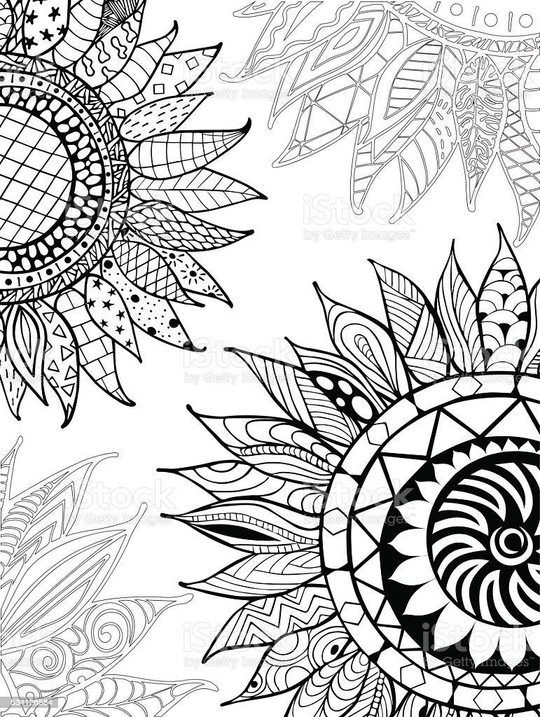 手描き ひまわりの飾り Zentangle 塗り絵の本用 お絵かきのベクター