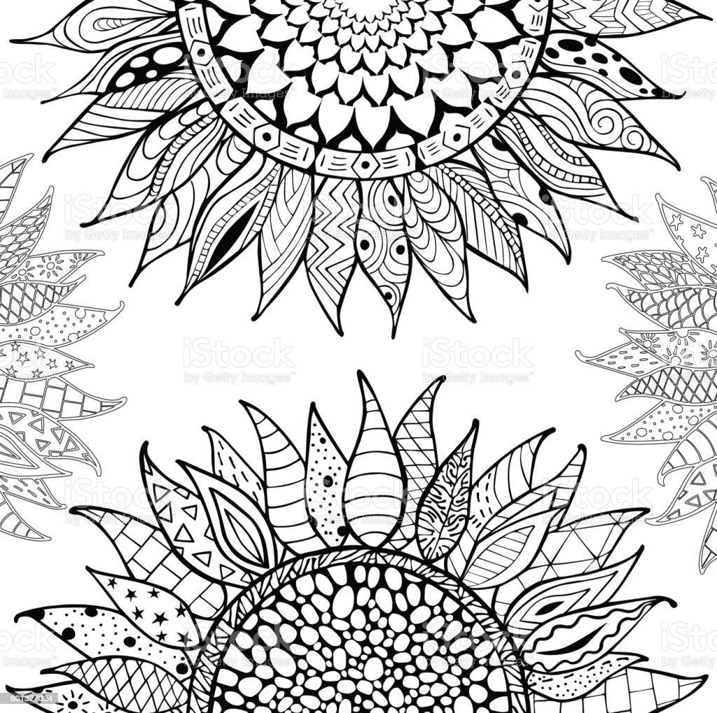 手描き ひまわりの飾り Zentangle 塗り絵の本用 イラストレーションの