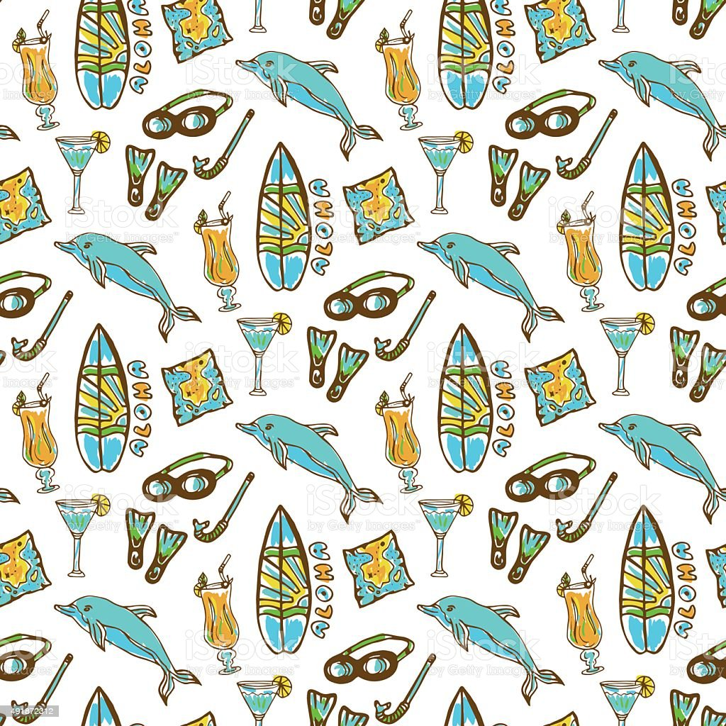 Hand drawn surfing and diving seamless pattern. Hawaii pattern vector art illustration