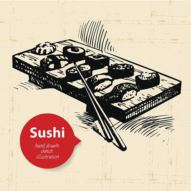 手描きの寿司イラストレーション - 和食点のイラスト素材/クリップアート素材/マンガ素材/アイコン素材