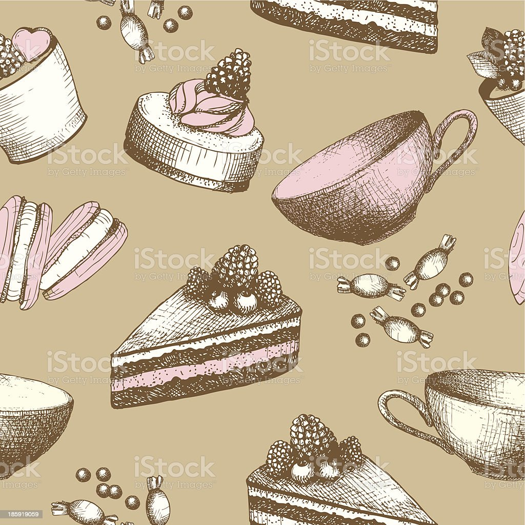 Hand drawn sweet cakes, candies, ice cream background. royalty-free stock vector art