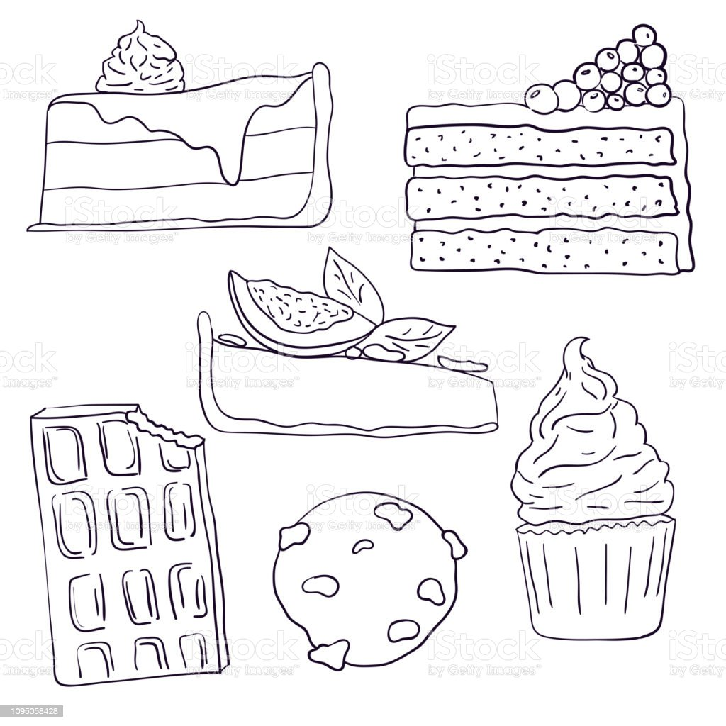 Hand drawn sweet cakes slices set vector illustration. Doodle illustration.  Cake pieces, chocolate, cokie and sweets in doodle style. Vector illustration. vector art illustration