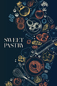 Hand drawn sweet pastry. Vector bakery, flour, eggs, apple, pear, orange, lemon, blueberry, berries, cinnamon, spices Cooking a pie Engraved illustration Menu package food banner design