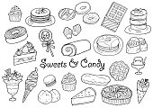Hand drawn sweets and candy illustration set
