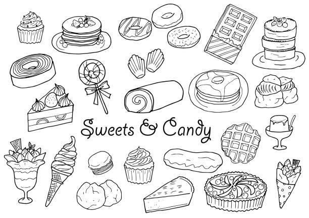 handgezeichnete bonbons und süßigkeiten abbildung set - tortenriegel stock-grafiken, -clipart, -cartoons und -symbole