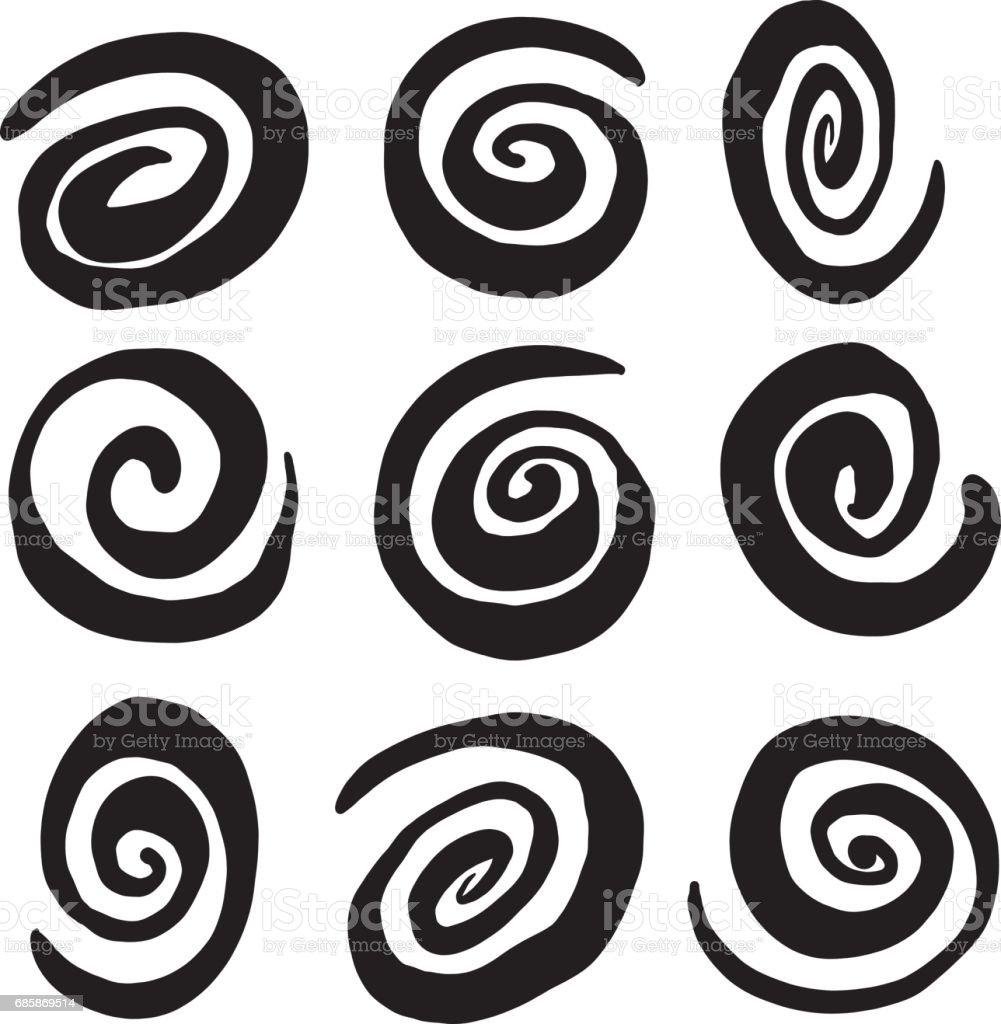 Hand Drawn Swirl Circle Vectors vector art illustration