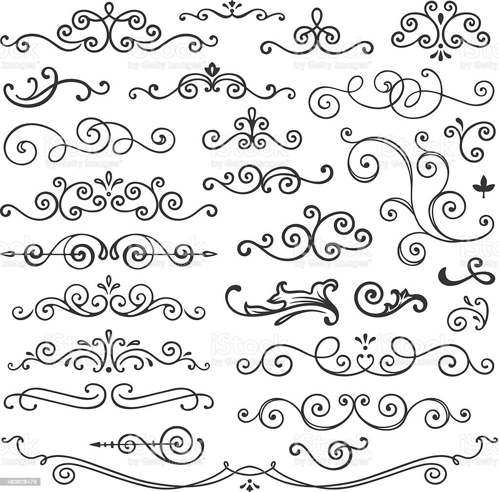 Hand Drawn Swirl Design Elements vector art illustration