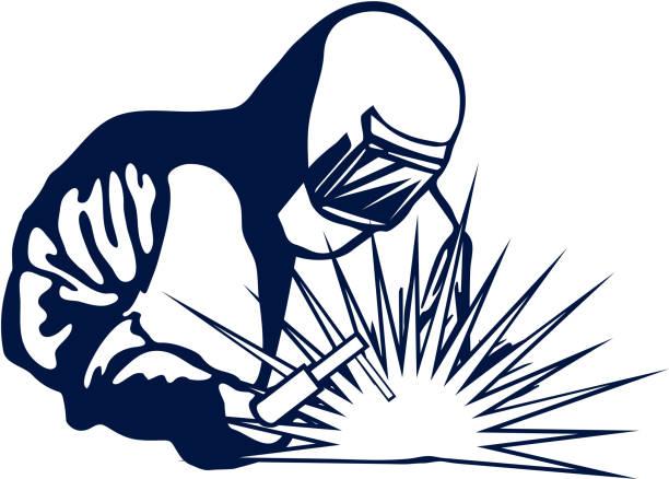 illustrations, cliparts, dessins animés et icônes de silhouette de soudeur noir main symbole dessiné. vector - infographie industrie manufacture production