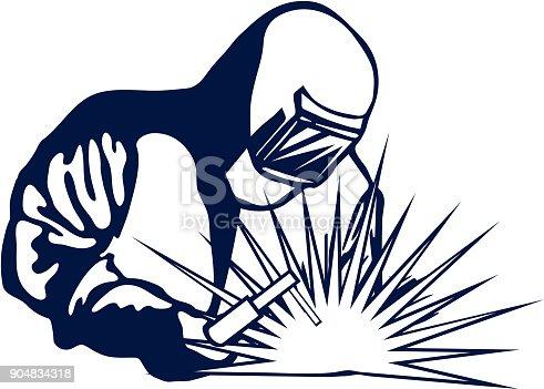 Hand Drawn Symbol Welder Black Silhouette Vector Stock ...