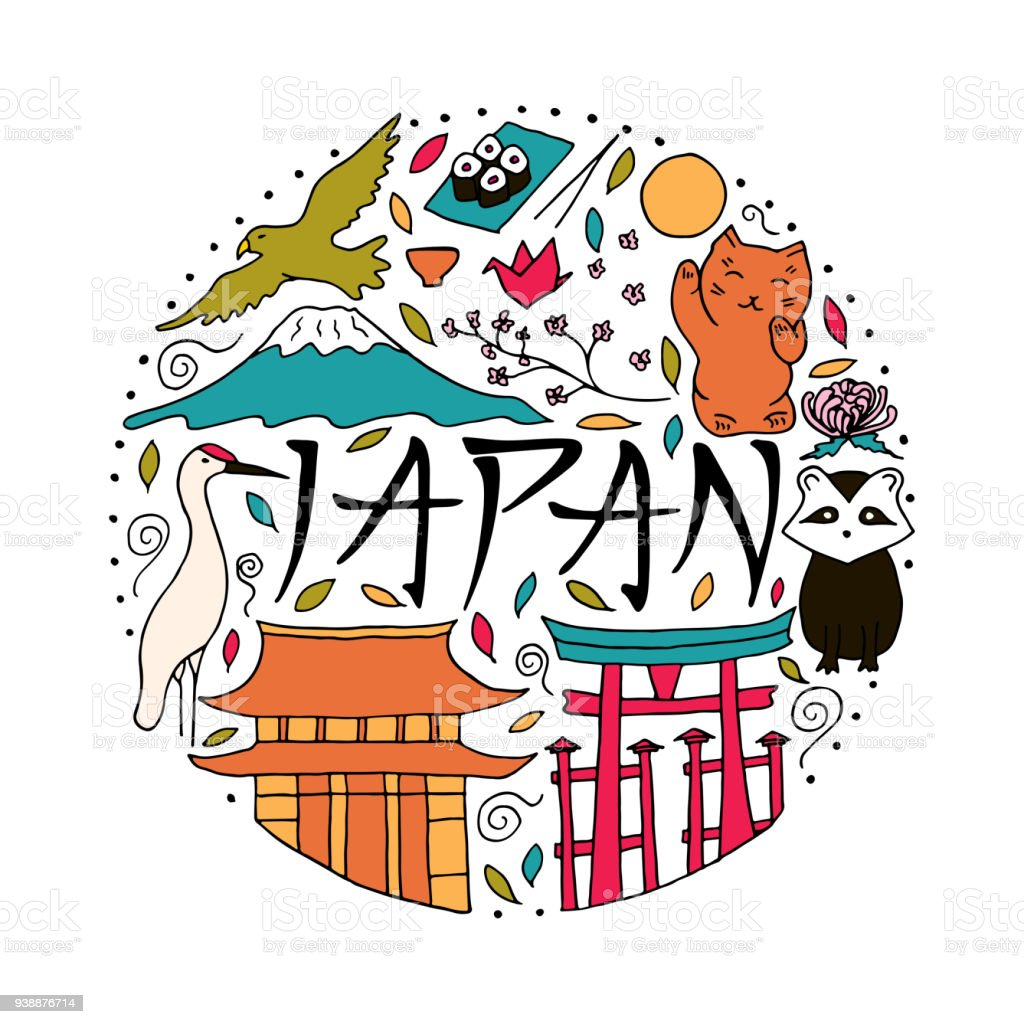 Hand Drawn Symbols Of Japan Japanese Culture And Architecture Stock