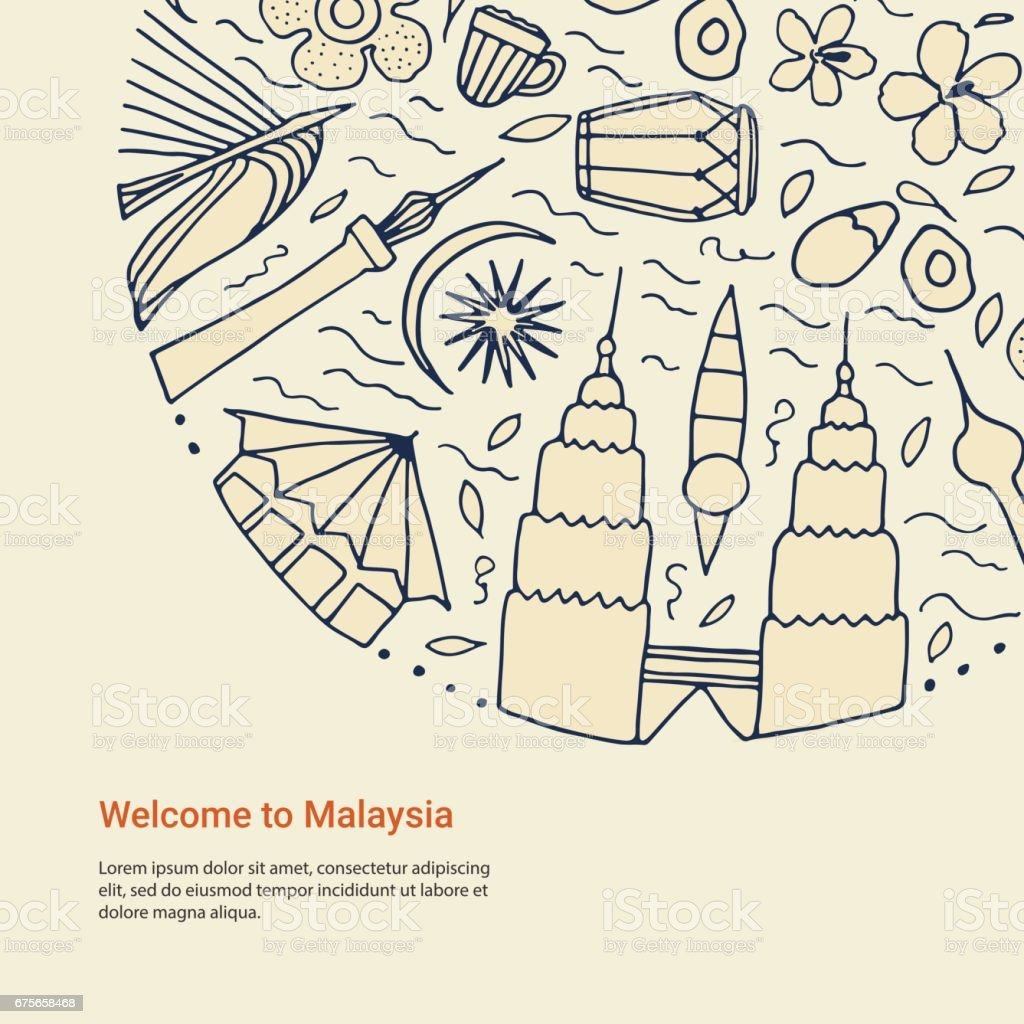 Hand drawn symbols of Malaysia template.