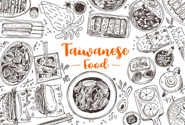 hand drawn taiwanese food, vector illustration - braised stock illustrations