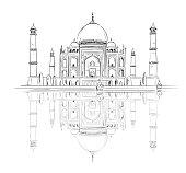 Hand drawn Taj Mahal with reflection