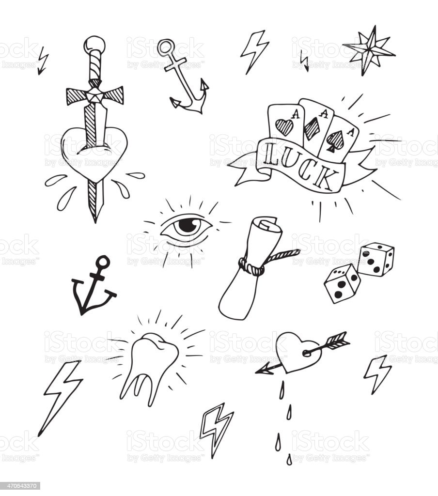 Hand Drawn Tattoo Design Elements Stock Vector Art More Images Of