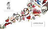 Hand drawn tattoo elements concept with human skulls snake swords rose flowers swallow hearts pierced with dagger and arrows vector illustration