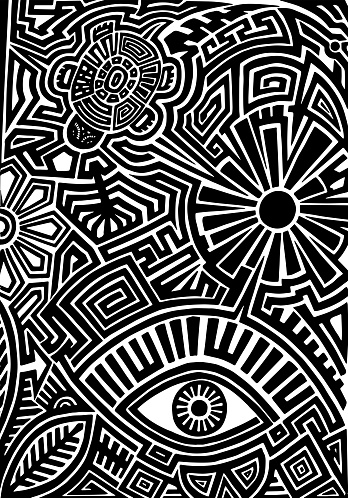 Hand drawn tattoo pattern in maori style with turtle, sun, eye, leaf and flower