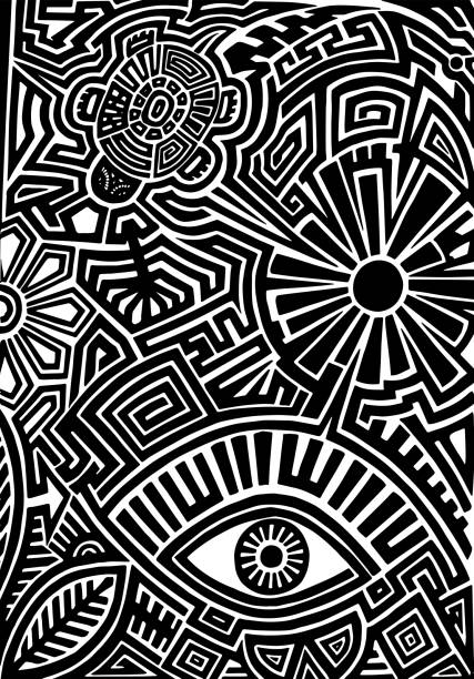 Hand drawn tattoo pattern in maori style with turtle, sun, eye, leaf and flower Hand drawn black tattoo pattern in maori style with turtle, sun, eye, leaf and flower on white background maori tattoos stock illustrations