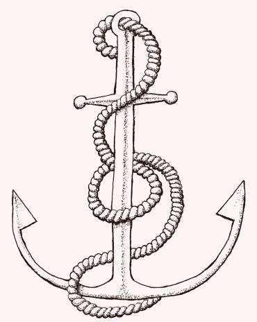Hand drawn tattoo style anchor