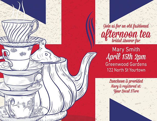 ilustraciones, imágenes clip art, dibujos animados e iconos de stock de dibujado a mano té partido despedidas de soltera plantilla - bandera británica