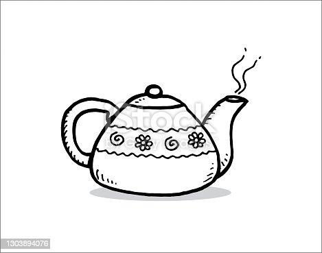 istock Hand drawn teapot 1303894076