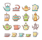Cute hand drawn teapots and cups collection, including different types of ornamented teapots, milk and water mugs  and tea and coffee cups. Colorful outline collection.