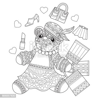 Hand drawn teddy bear girl shopping for adult coloring page stock vector art more images of abstract 859357630 istock