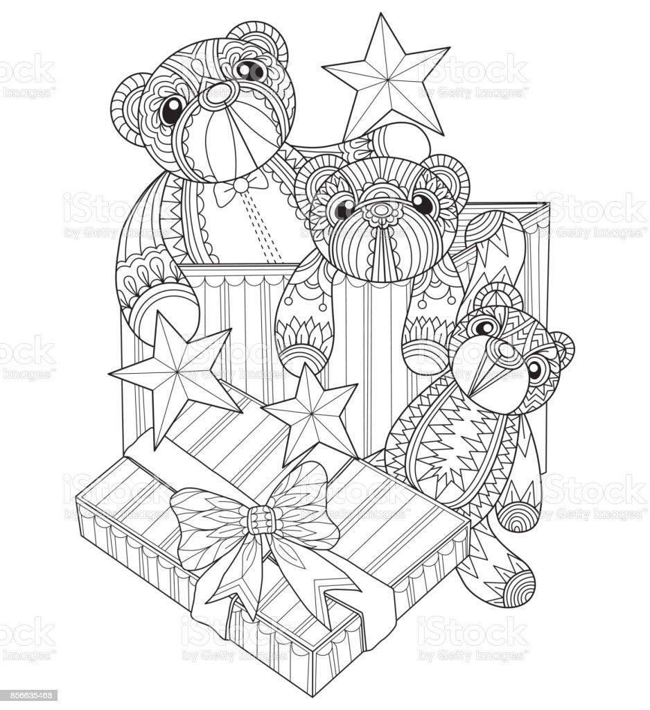 Hand dras nallebjörn i presentförpackning för vuxen målarbok. vektorkonstillustration