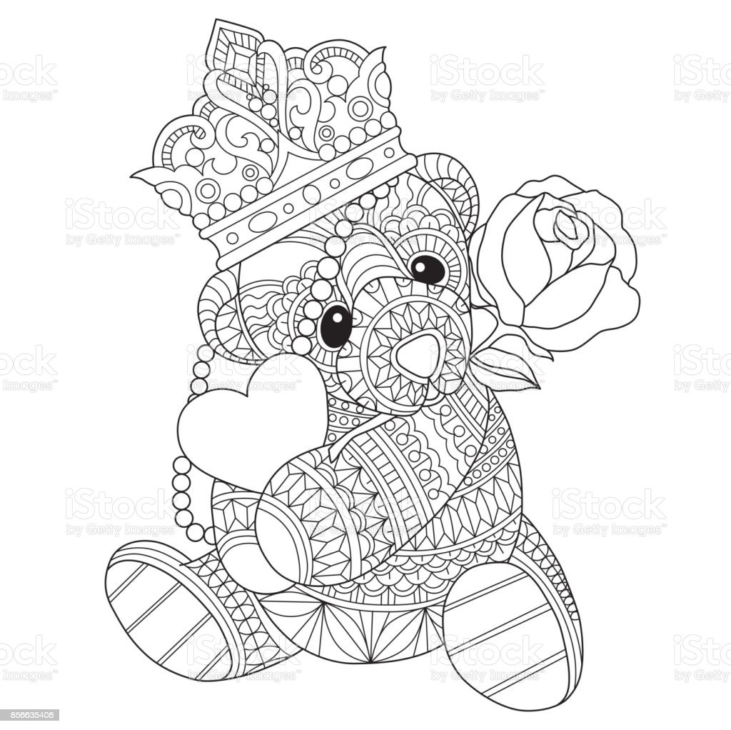 Hand Drawn Teddy Bear In Love For Adult Coloring Page Stock ...