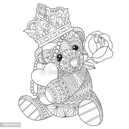 Hand Drawn Teddy Bear In Love For Adult Coloring Page
