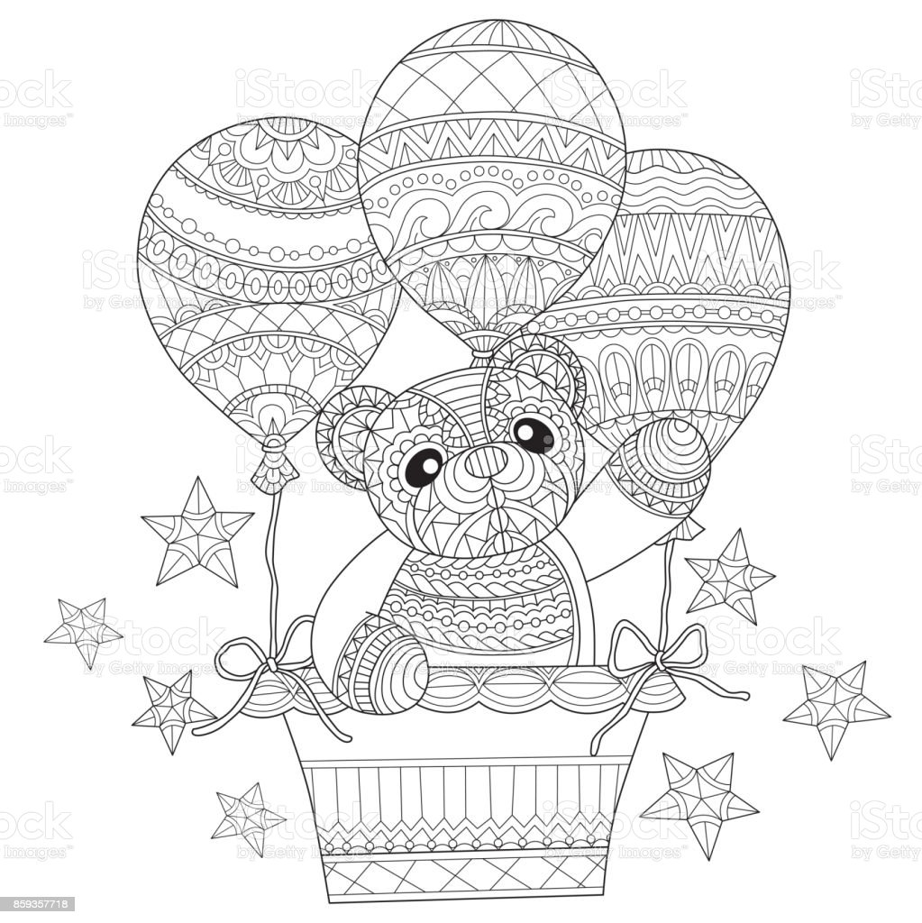 Hand dras nallebjörn i ballongen för vuxen målarbok. vektorkonstillustration