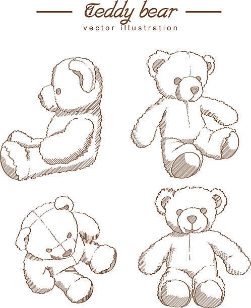 ilustrações de stock, clip art, desenhos animados e ícones de mão desenhada urso de pelúcia - teddy bear